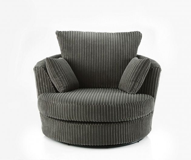 Swivel Round Cuddle Chair Fabric Chenille Leather Image 12