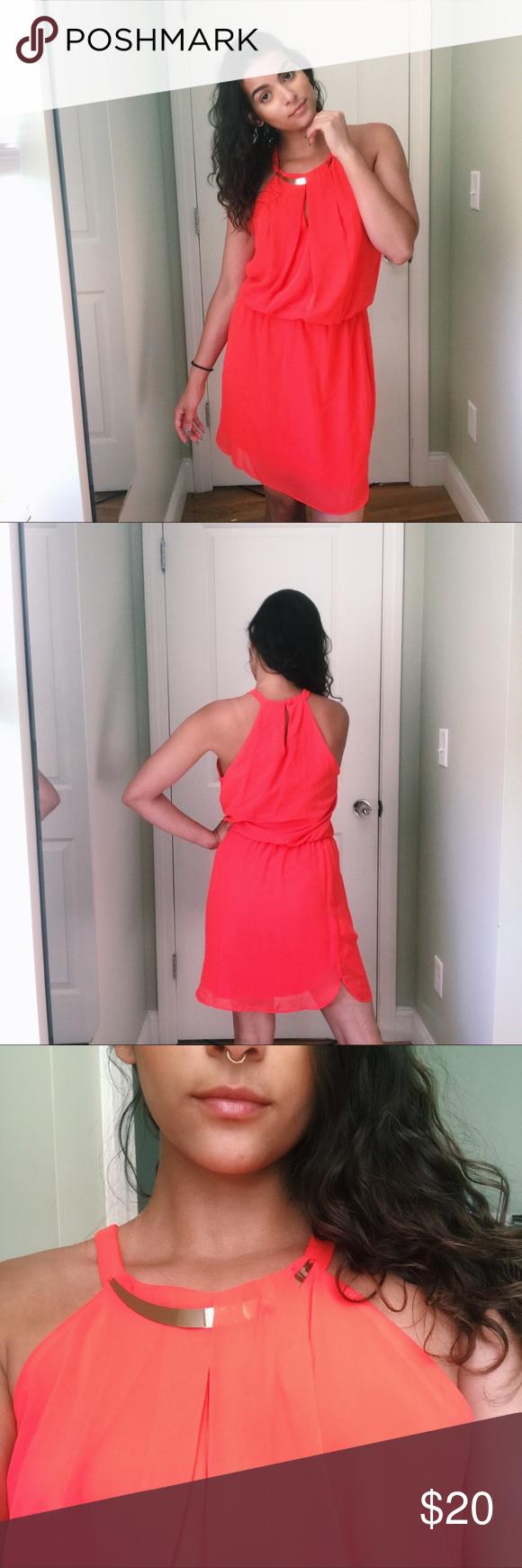 Coral halted dress summer dresses neckline and ootd