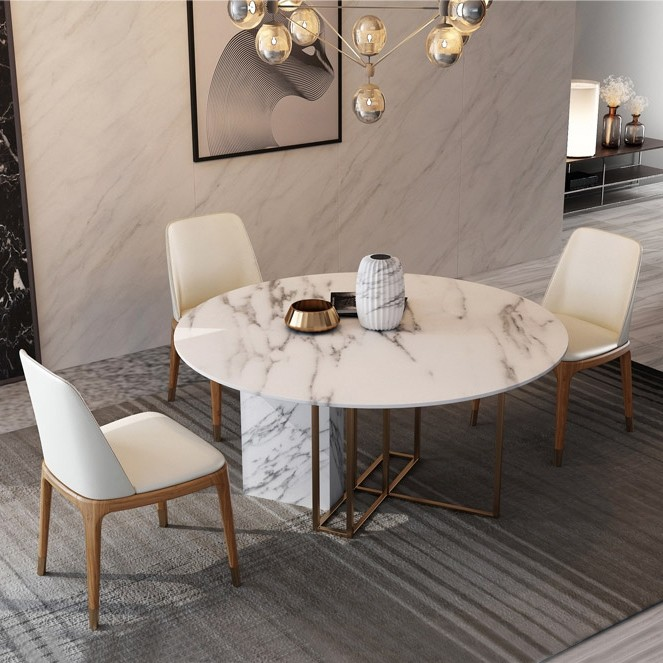 Modern Luxury Round Dining Table With Faux Marble Top Metal Base