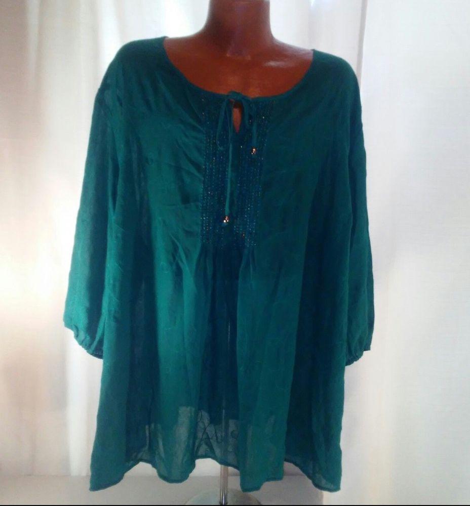 f9a32f9d4e8 Maggie Barnes Womens Plus Size Green Blouse w Fancy Beading Size 4X   MaggieBarnes  Blouse  Party