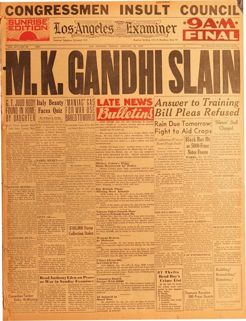 Gandhi Assassination Newspaper   Ad words, Newspaper ...
