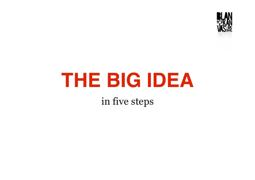 The Big Idea In 5 Steps By Pat Law Via Slideshare Steps Big Advertising Tools
