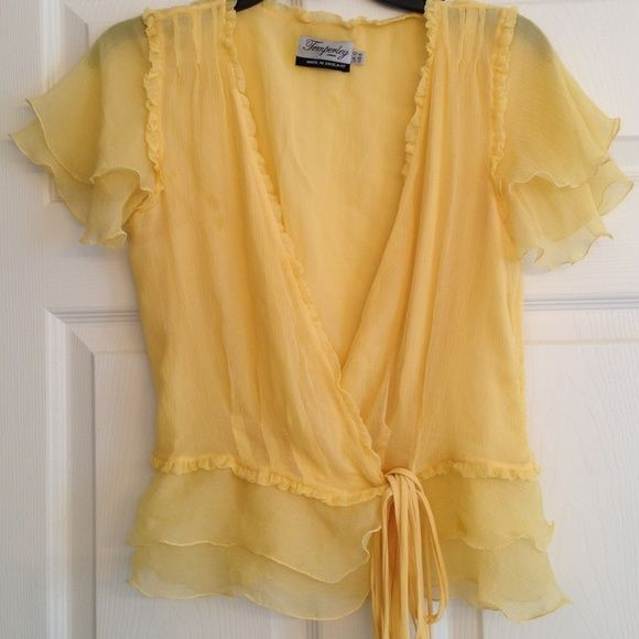 TEMPERLEY LONDON yellow Silk ruffle top This sweet top speaks for itself! Simply gorgeous!!! Made in England of fine silk. In great condition. No flaws TEMPERLEY LONDON Tops