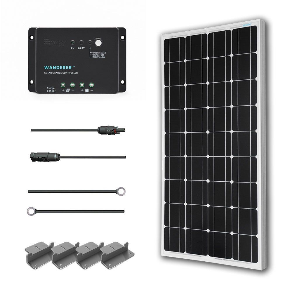 Renogy 100 Watts 12 Volts Monocrystalline Solar Starter Kit W 100w Solar Panel 30a Pwm Negative Ground Charge Controller Mc4 Connectors Tray Cable Mounti Solnechnyj Solnechnye Paneli Alternativnaya Energiya