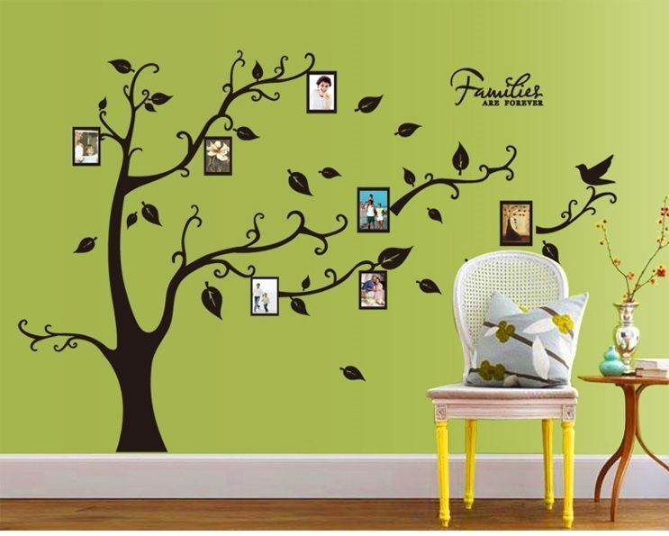 Large Family Tree Birds Photo Frame Quotes Wall Stickers Art Decals ...