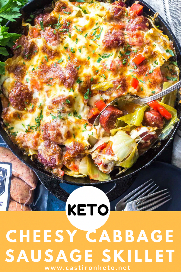 ad This Keto Cheesy Cabbage Sausage Skillet is a great low-carb one skillet dinner that's packed with healthy vegetables, delicious @kiolbassameats Smoked Roasted Garlic Sausage, and a bit of cheesy goodness