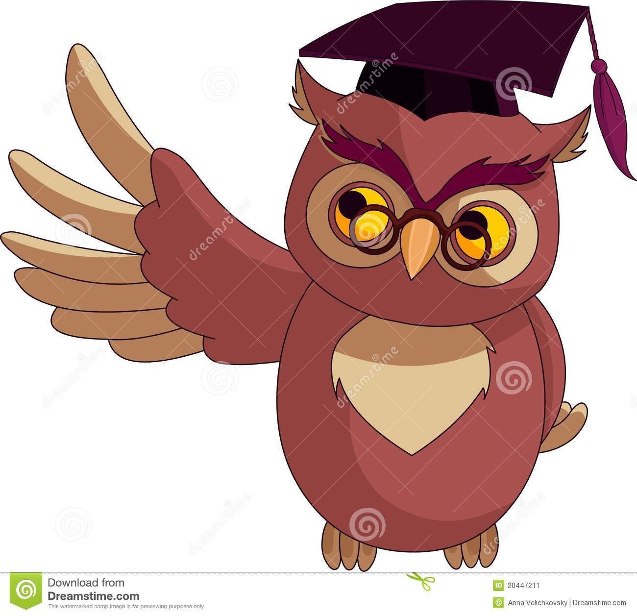 Cartoon wise owl with graduation cap stock image image for A cartoon owl