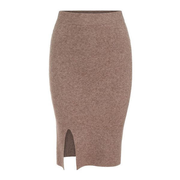 SheIn(sheinside) Camel Slim Split Knit Skirt ($16) ❤ liked on Polyvore featuring skirts, camel, formal skirts, brown skirt, knee length knit skirt, knee length skirts ve knit skirt