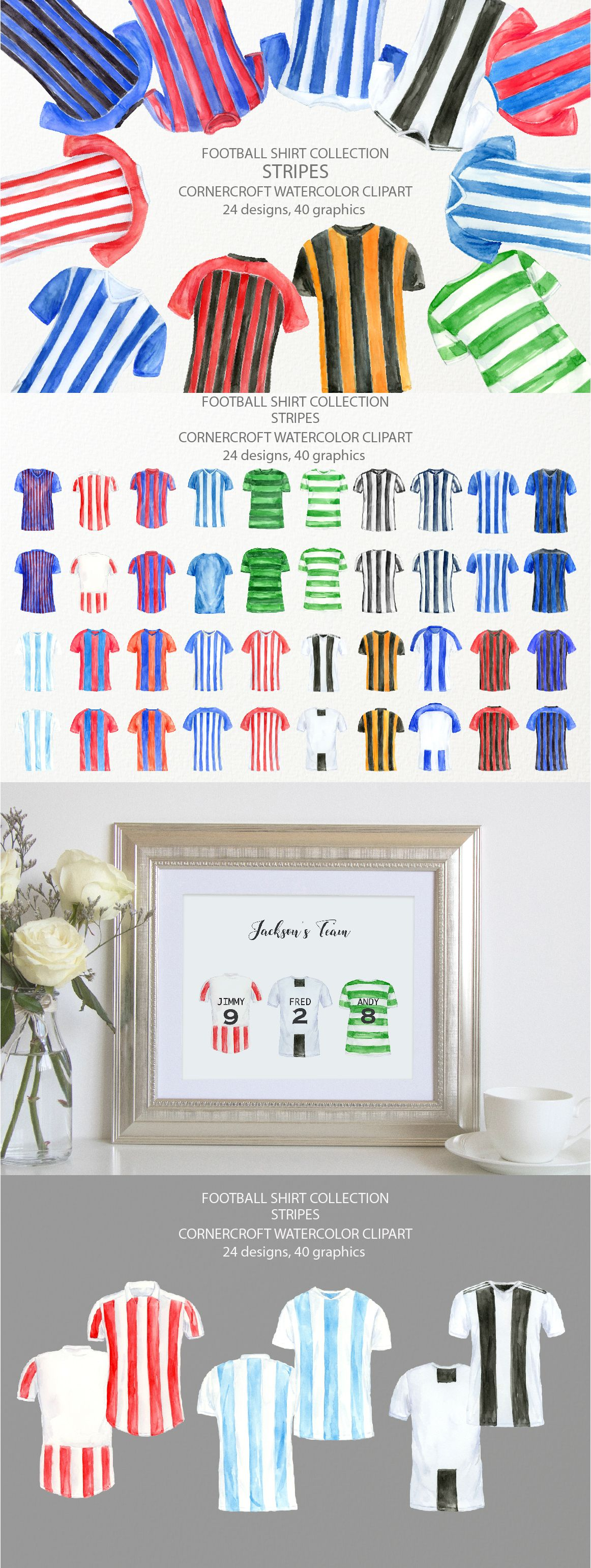 Watercolor Football Shirts In Stripes Soccer Shirt Illustration