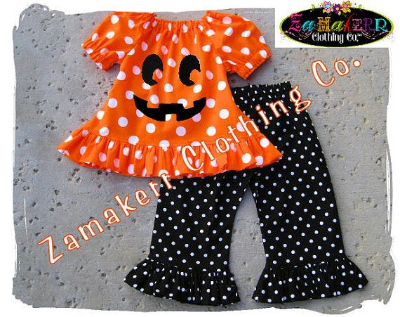 a1a45a0b2bf3b Custom Boutique Clothing Halloween Peasant Pumpkin Face Top Ruffle Pant  Outfit Set 3 6 9 12 18 24 month size 2T 2 3T 3 4T 4 5T 5 6 7 8 $47.99