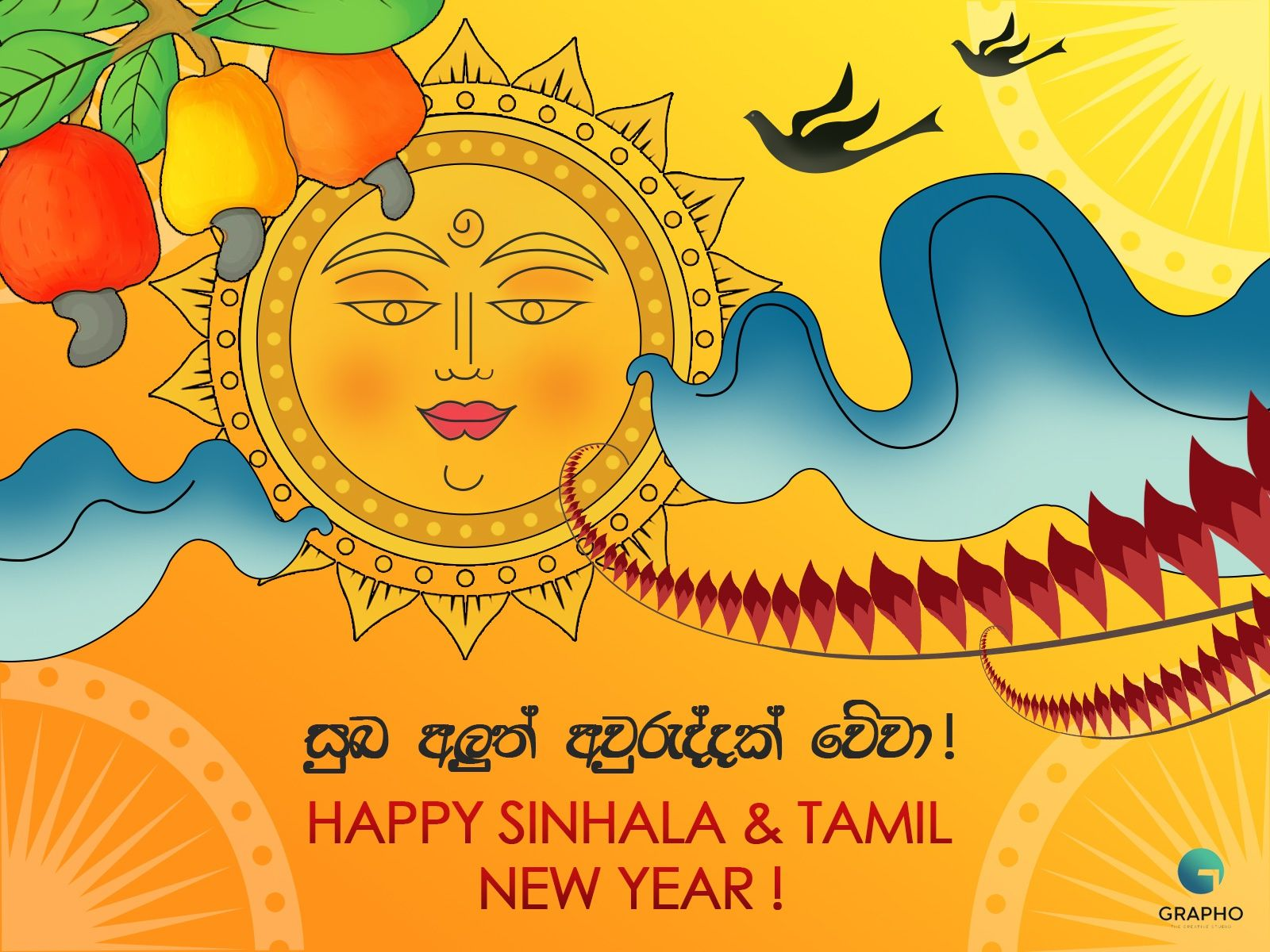 Sinhala And Tamil New Year Wish By Grapho Creative Studio In 2020 New Year Wishes Creative Studio Sinhala Tamil New Year