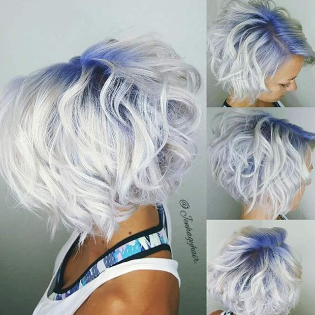 White Blonde With Blue Shadow Root By Jenhagyhair Gorgeous Color Design And Lovely Mussed Style Jen Hotonbeauty Lascrucesstylists Short Hair Hair Inspiration Hair Dyed Hair