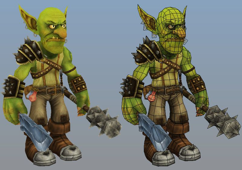 Hand-Painted Goblin and Dragon WIP | Wireframe: lowpoly