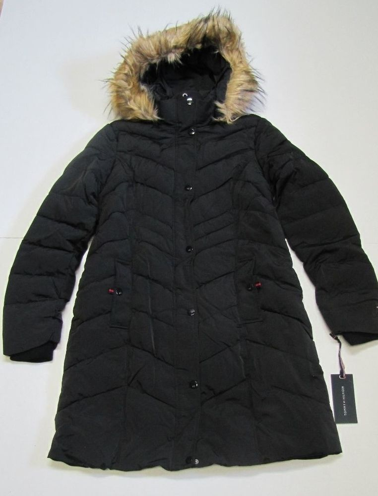TOMMY HILFIGER Women's Long Chevron Quilted Down Coat w ...