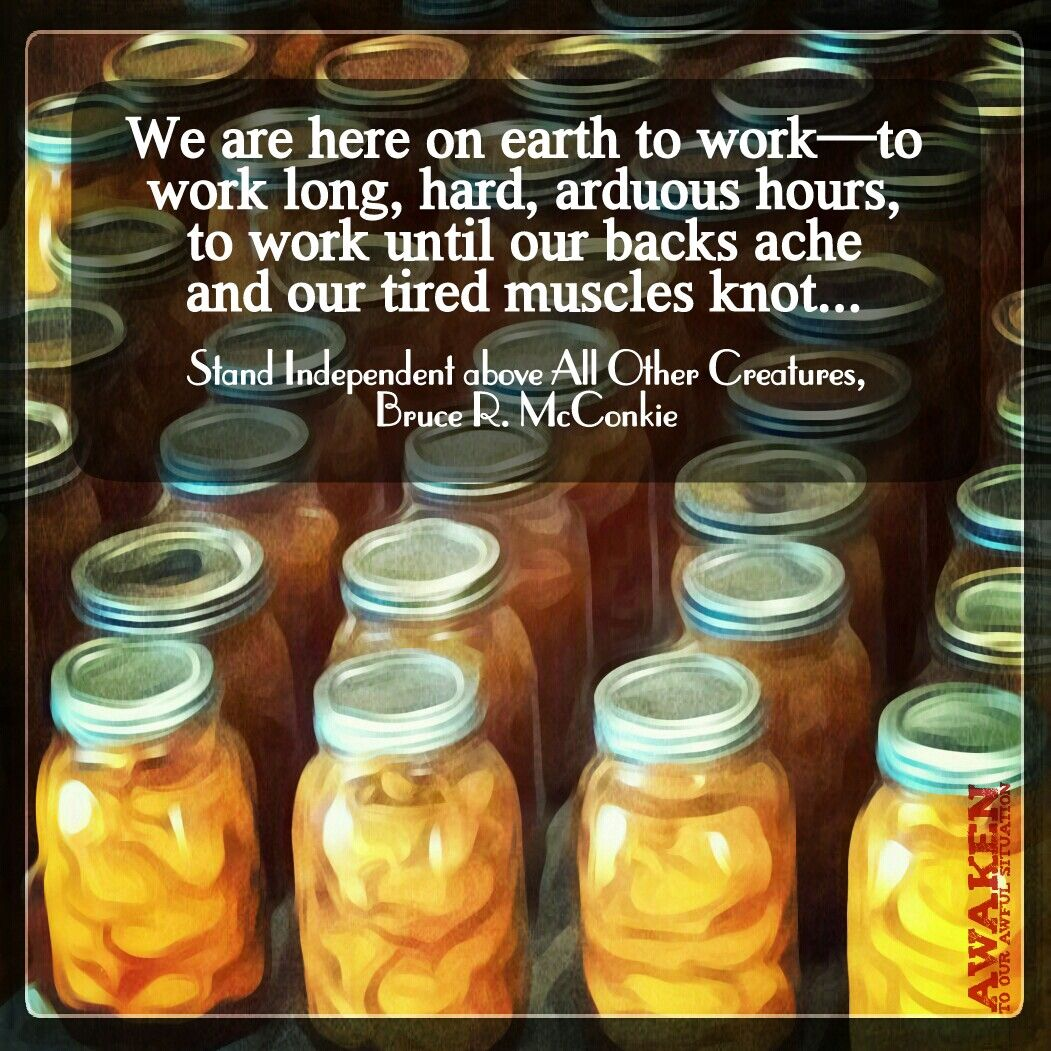 """We are here on earth to work—to work long, hard, arduous hours, to work until our backs ache and our tired muscles knot...""  Stand Independent above All Other Creatures - Bruce R. McConkie"