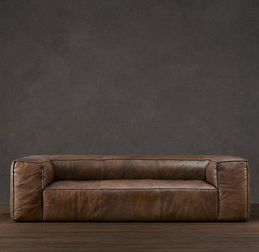 Fulham leather sofa contemporary sofas restoration for Restoration hardware furniture quality