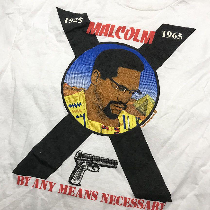 Vintage Malcolm X Any Means Necessary White Xl T Shirt Single Stitch Vtg90 Ebay Vintage Malcolm X Stitch