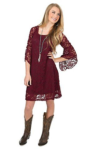 f7c73da58e37 Jody Women s Burgundy Lace 3 4 Bell Sleeve Dress