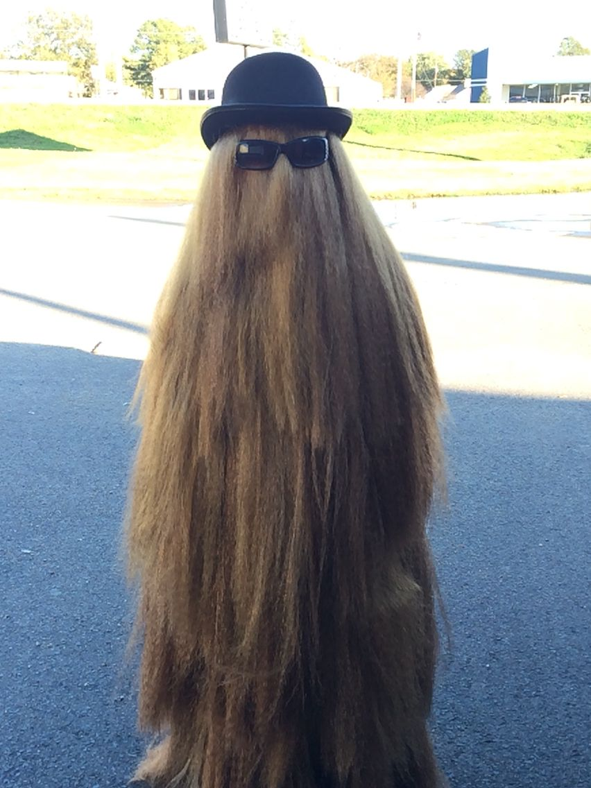 Homemade Cousin It Costume Love It Addams Family Costumes Family Costumes Long Hair Styles