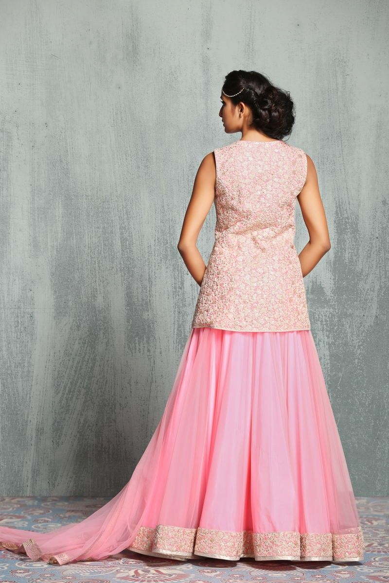 Pink net stitched lehenga with thread and sequins work beautiful