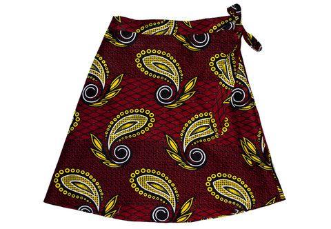 Red Paisley Dsenyo Wrap Skirt
