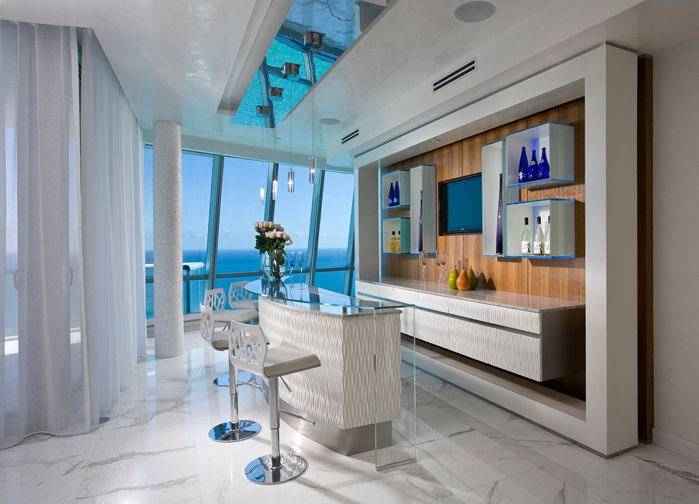 Home sports bar home bar contemporary with marble floor bar stools ...