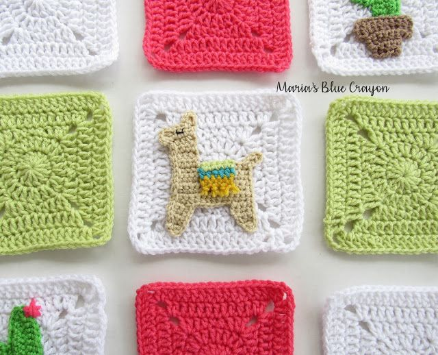 Crochet Llama Applique and Granny Square - Free Crochet pattern en ...