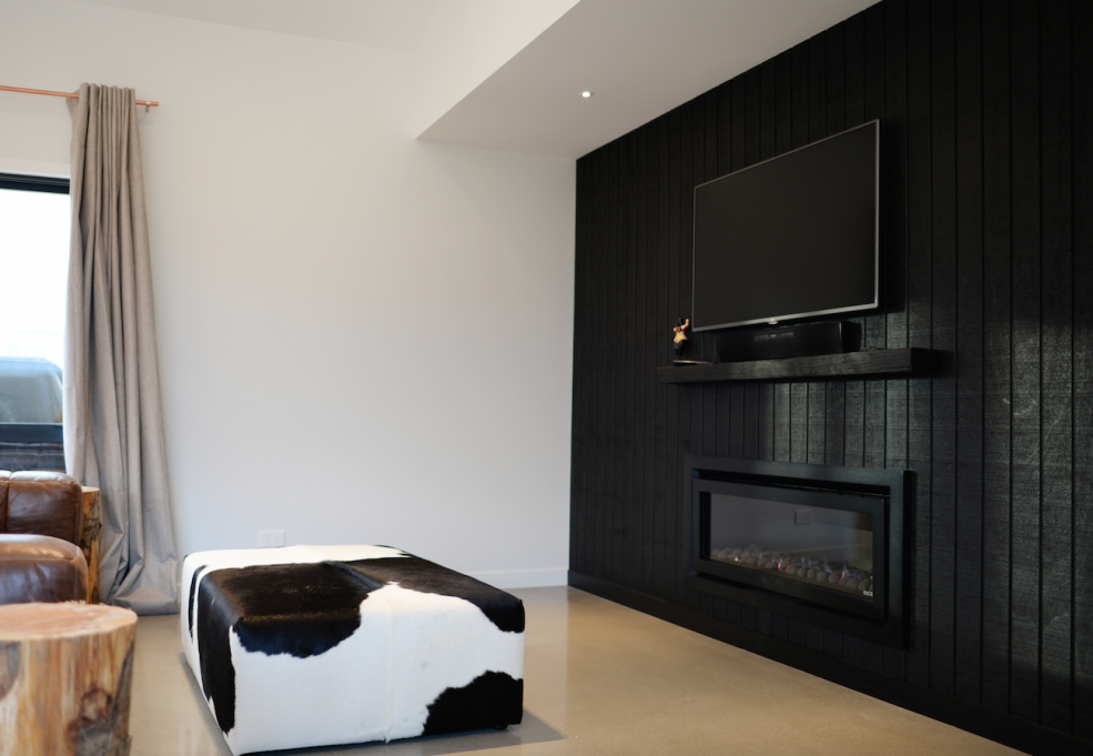 Black Feature Wall Living Room black feature wall tv positioning black cladding open plan living