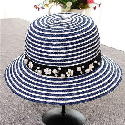 Vintage Style Jewel Accent Band Summer Straw Hat 7 Colors
