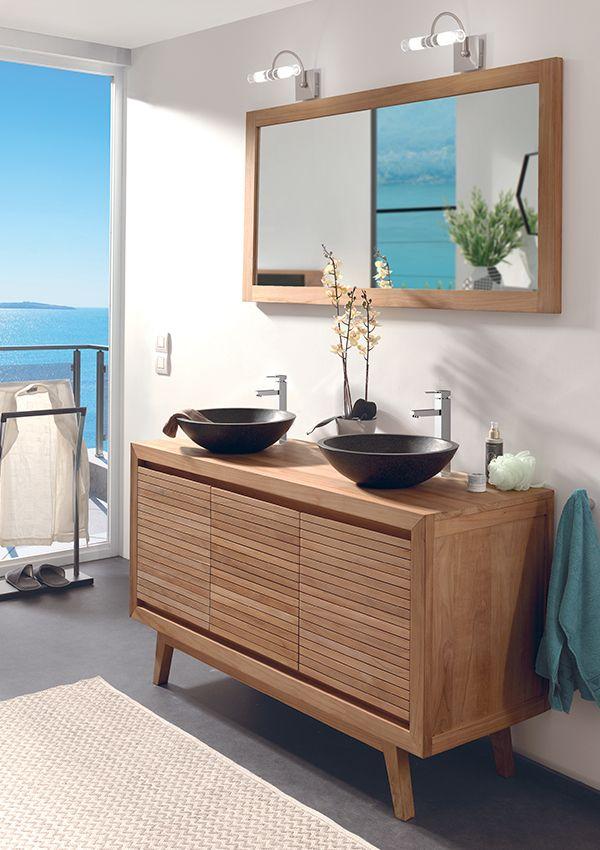 vasque 2 robinets Salle de bains SULAWESI Teck massif vasques en terrazo noir 2 robinets +  bondes + flexibles