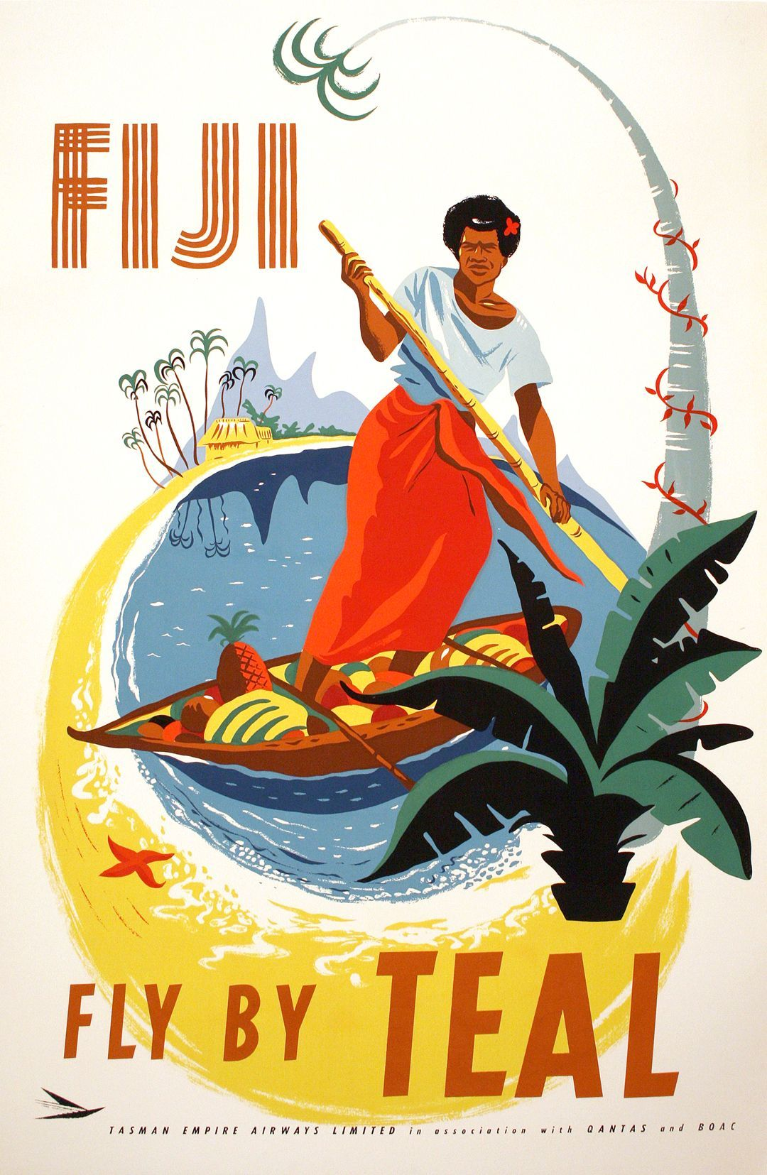 poster Wall art Reproduction. Delta Presents  : Vintage Airline travel advert