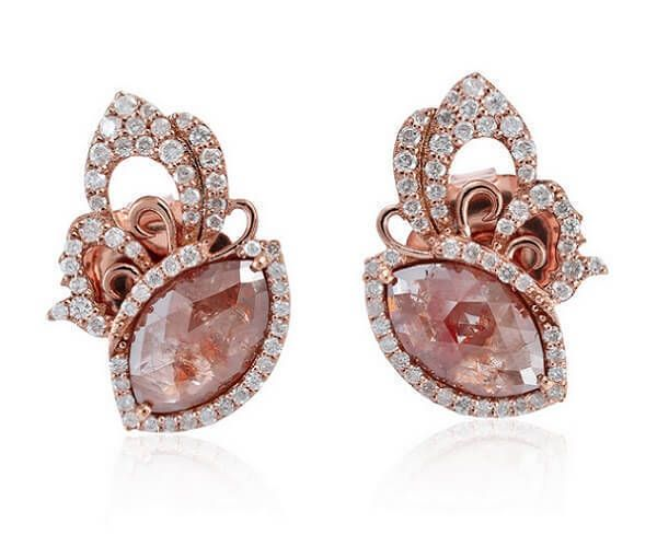 716f32ba415c07 Boucles d oreilles haut de gamme en or rose 18 cts et diamant slice ...