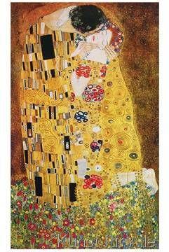Der Kuss Alte Meister Glasbild Gustav Klimt