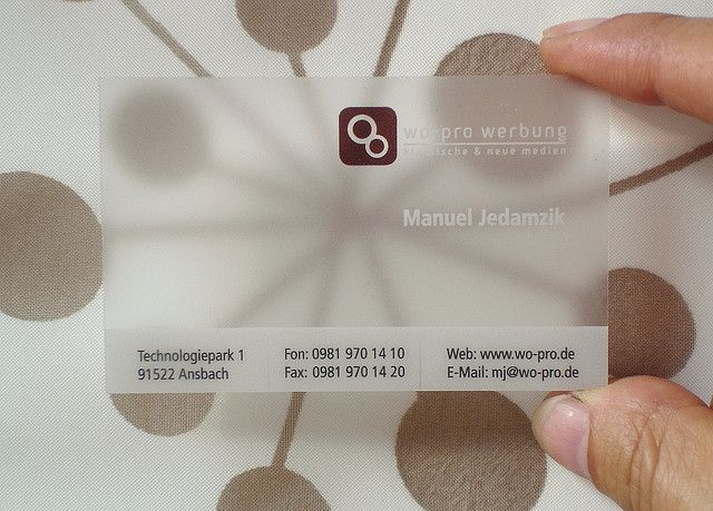 Translucent Frosted Plastic Business Card Transparente