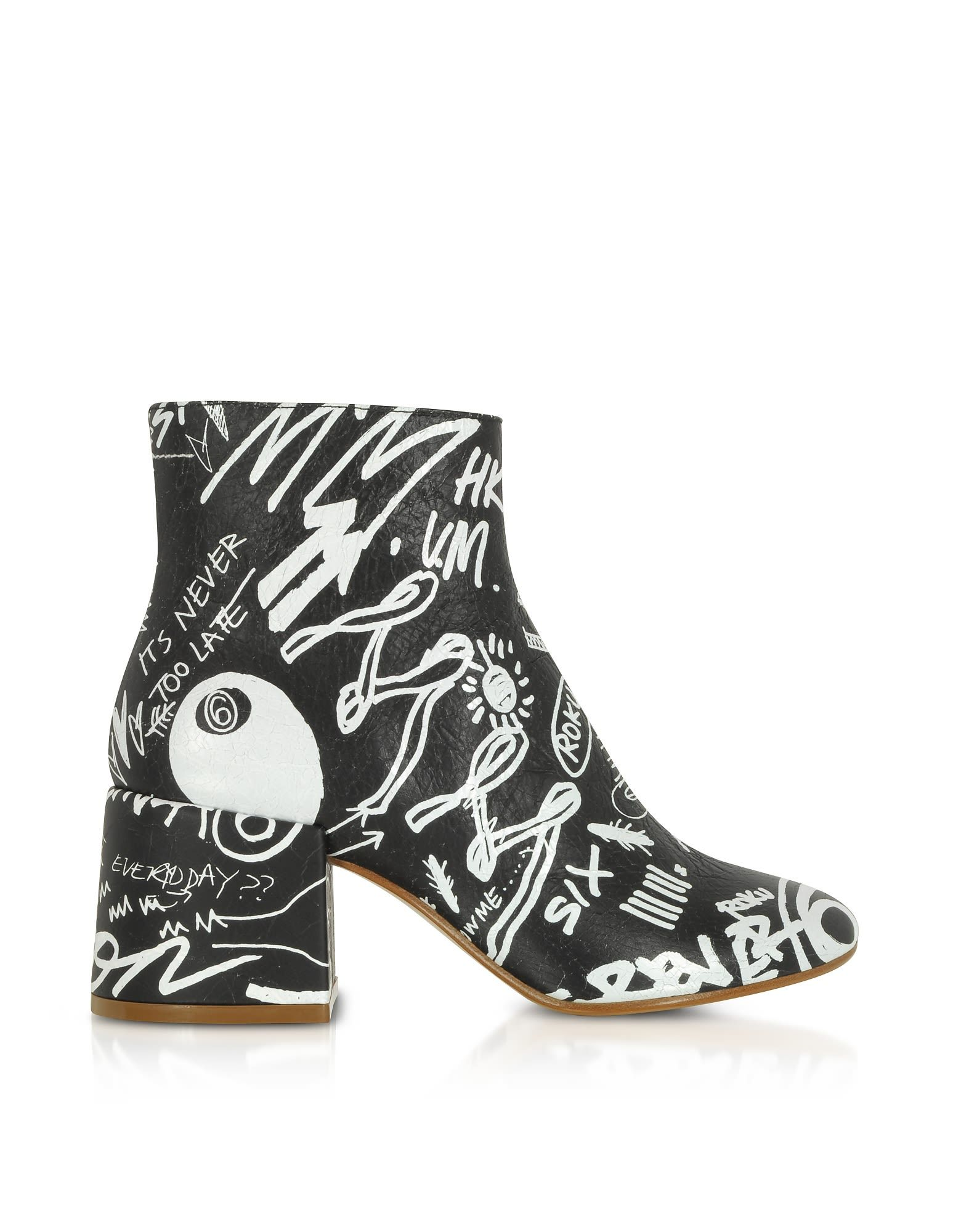 Maison Martin Margiela Designer Shoes, Crackled Graffiti Printed Leather Heel Boots