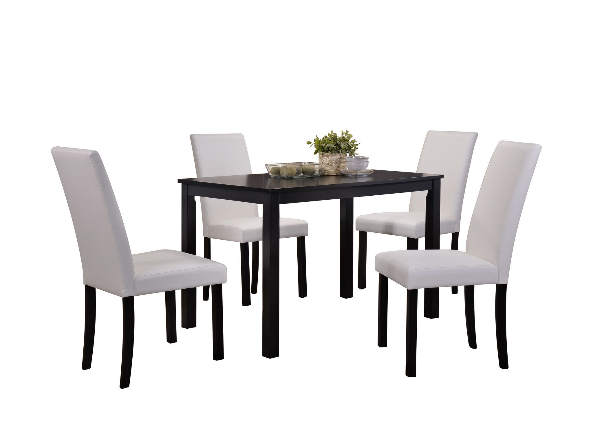 black wood rectangular dining table. 5 Piece Black Wood Rectangle Kitchen Dinette Dining Table \u0026 4 Or White Upholstered Parsons Side Chairs Set Rectangular N