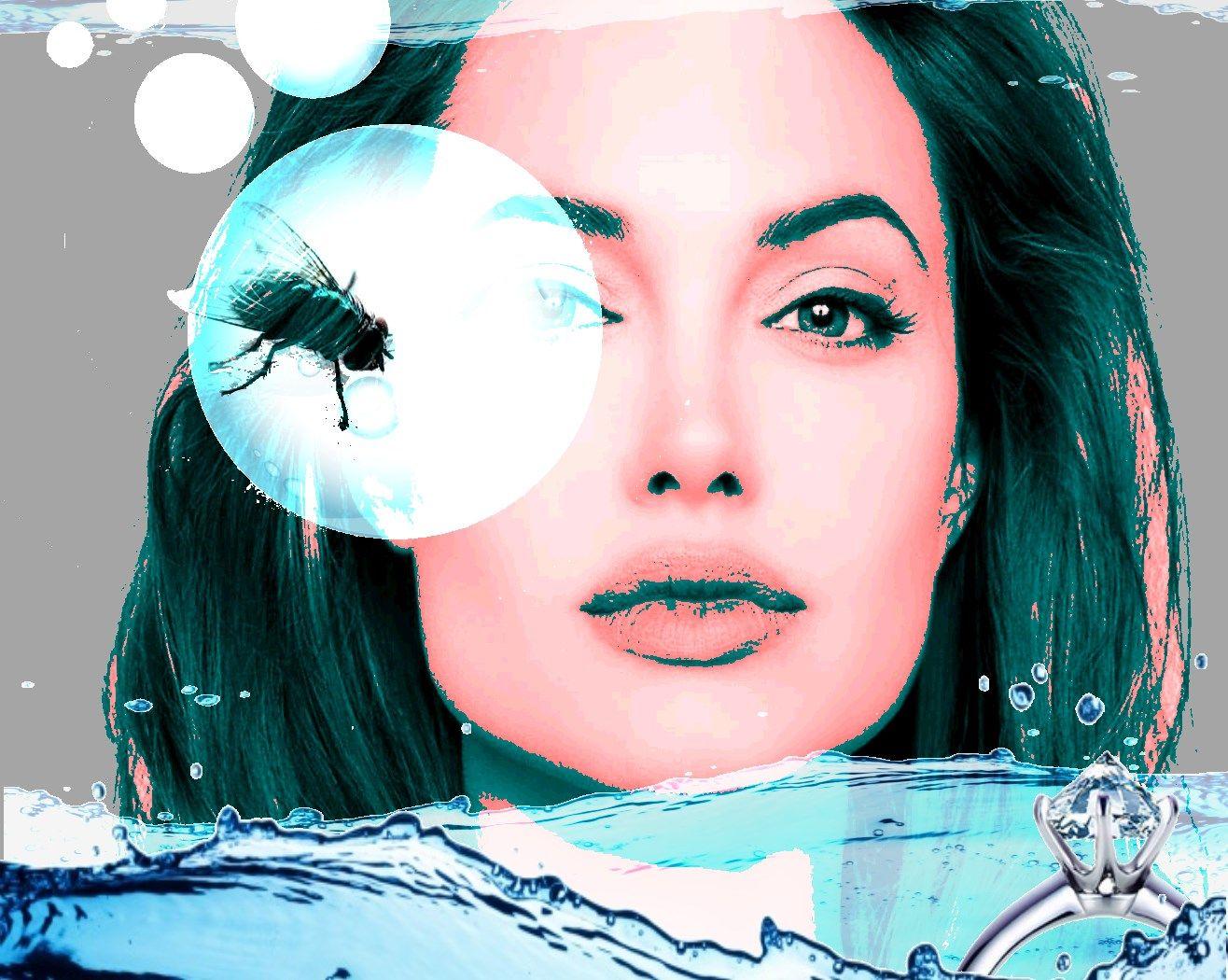 et ansigt + en flue + dråber + en ring + noget vand. Lavet i Paint.net - hvert billedelement ligger i sit eget lag