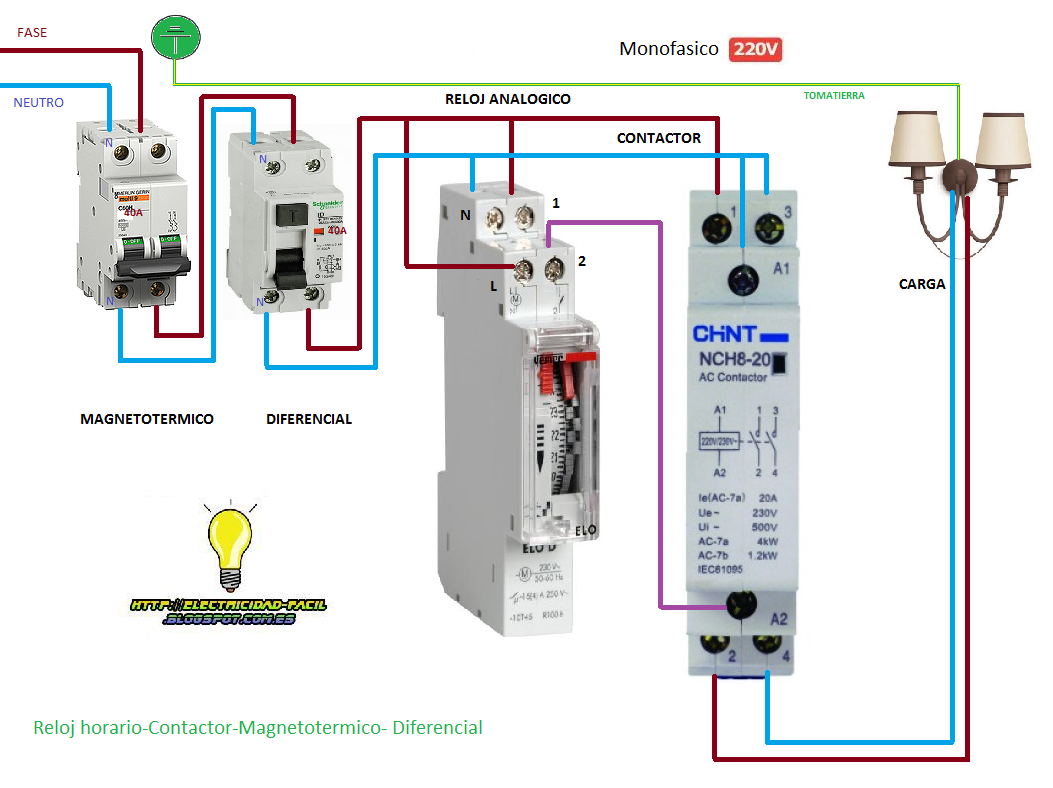 Encendido Reloj Horario Contactor Magnetotermico Diferencial Electrical Wiring Electrical Installation Electrical Engineering