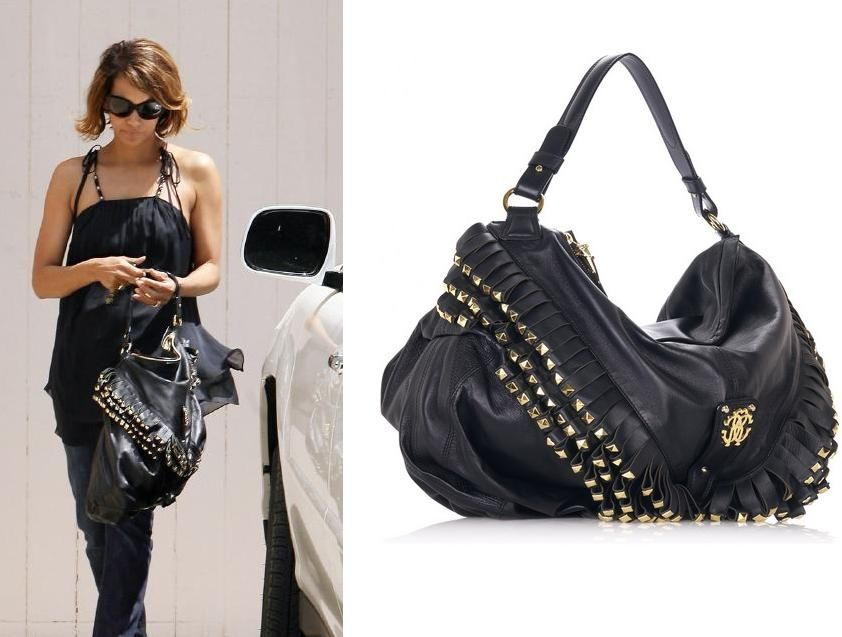 Halle Berry Spotted with Roberto Cavalli Fringed Shoulder Bag