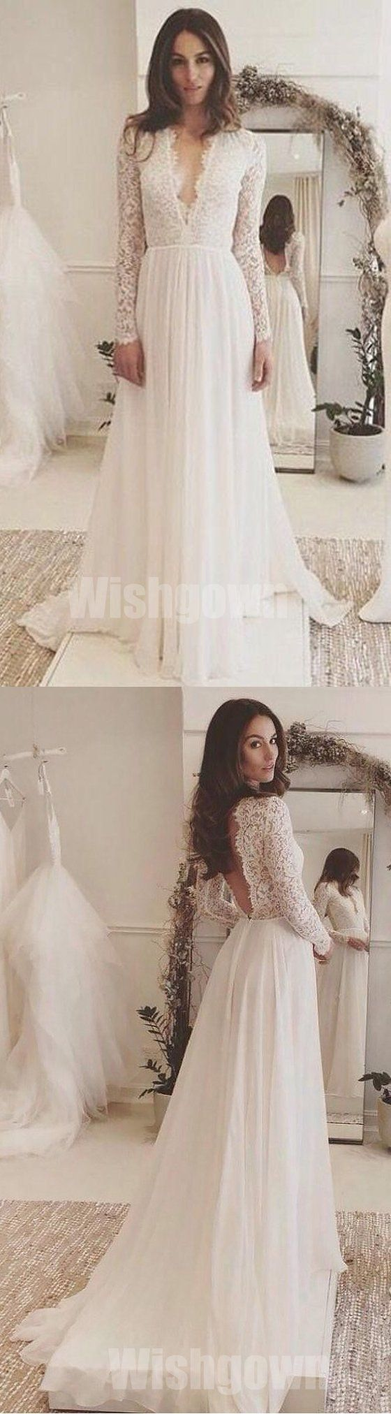 Affordable long sleeves ivory lace v neck elegant cheap long wedding