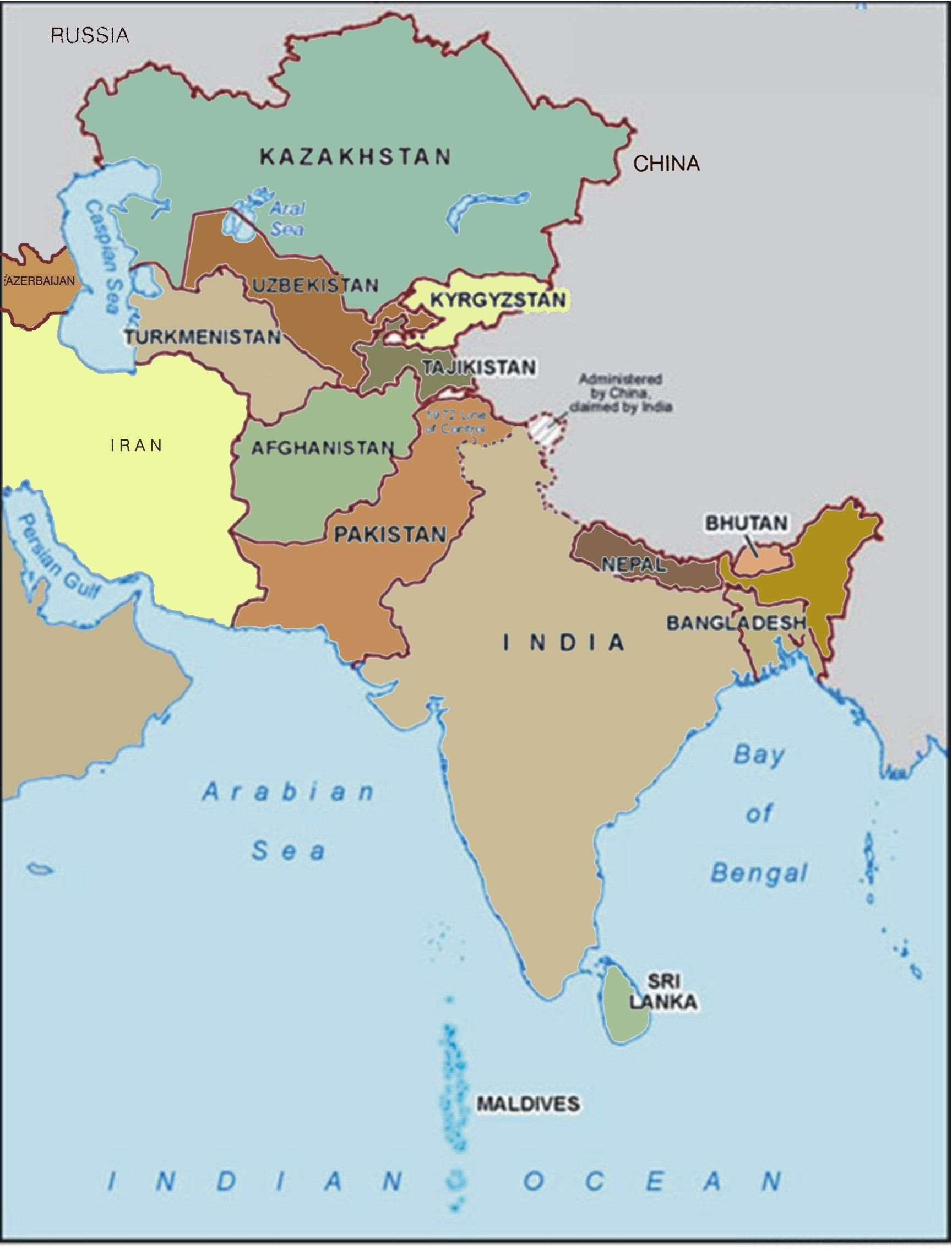 Map Of S Asia.Political Map Of South Asia
