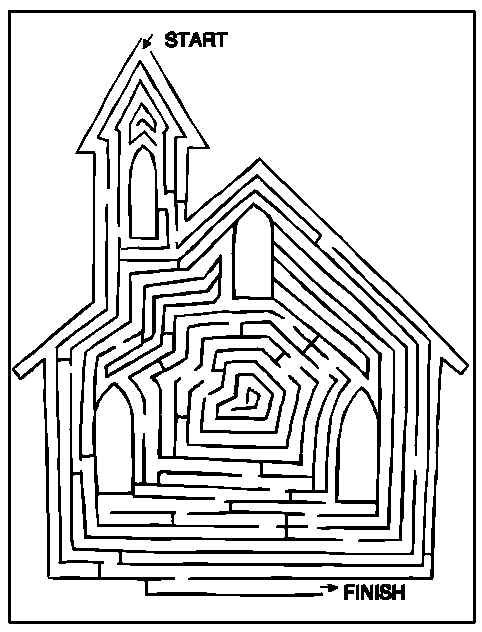 Find Your Way Through the Church Maze  Free Printable Coloring