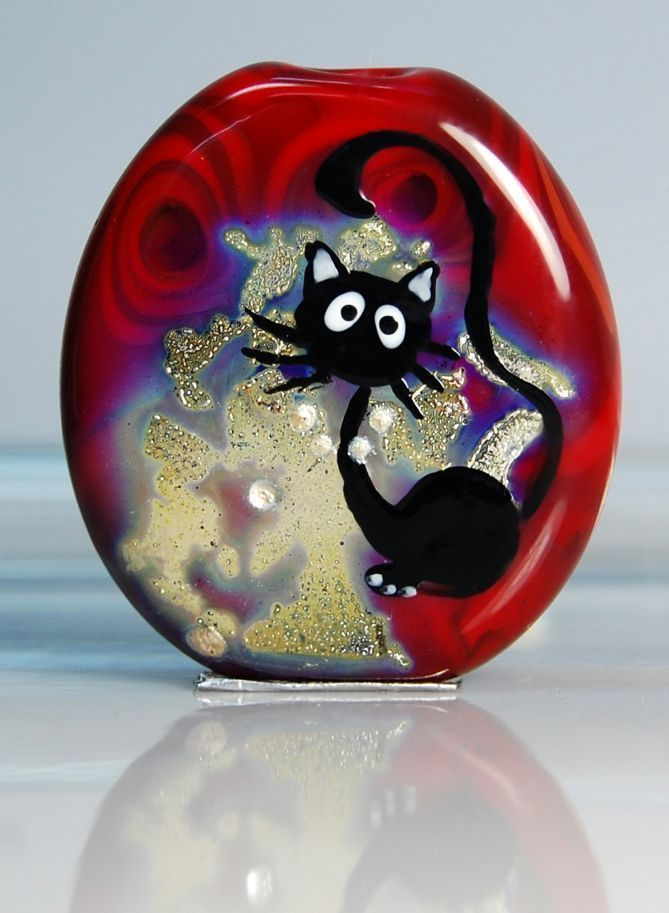Trizas Original Handmade Glass Lampwork Focal Bead Cat TOS00102 SRA | eBay