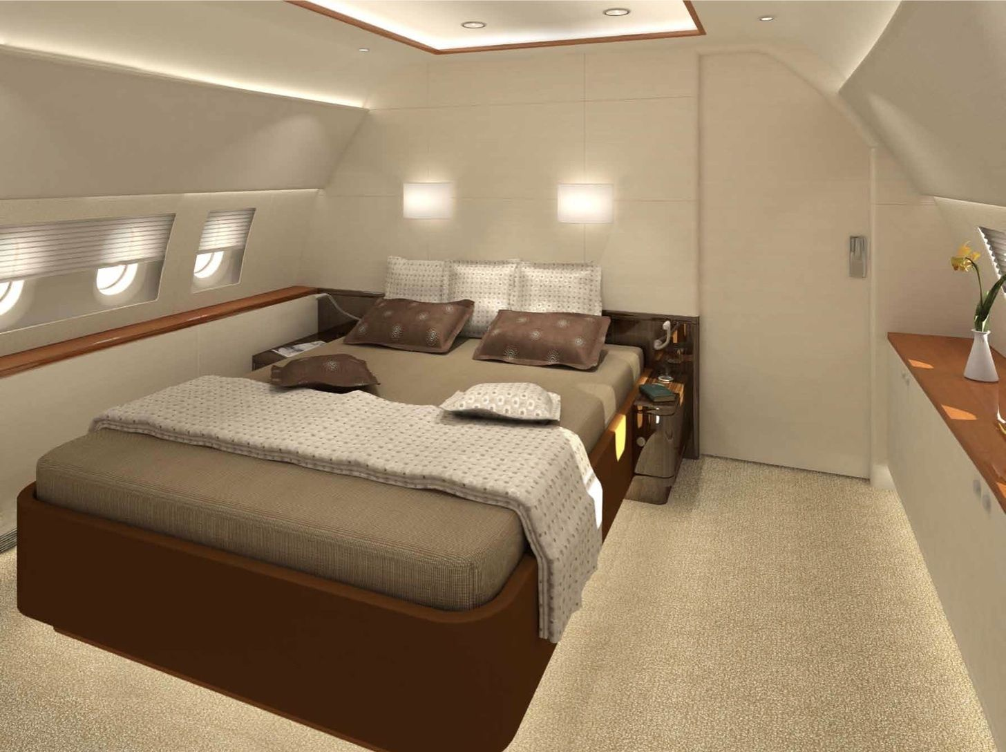 Luxurious Private Jet Interior Design Providing Comfortable Impression Incredible Wooden Bed Frame With Minimal