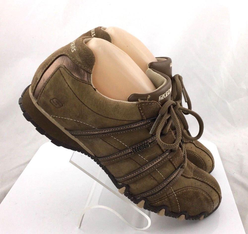4d4c6b1607fc Skechers Bikers Flats Memory Foam 49226 Brown Leather Shoes Womens size 11M  work  Skechers