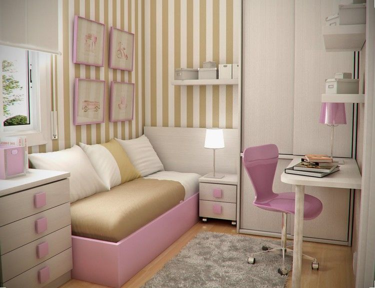 Kleines Kinderzimmer Raumgestaltung Maedchen Weiss Rosa Wandstreifen