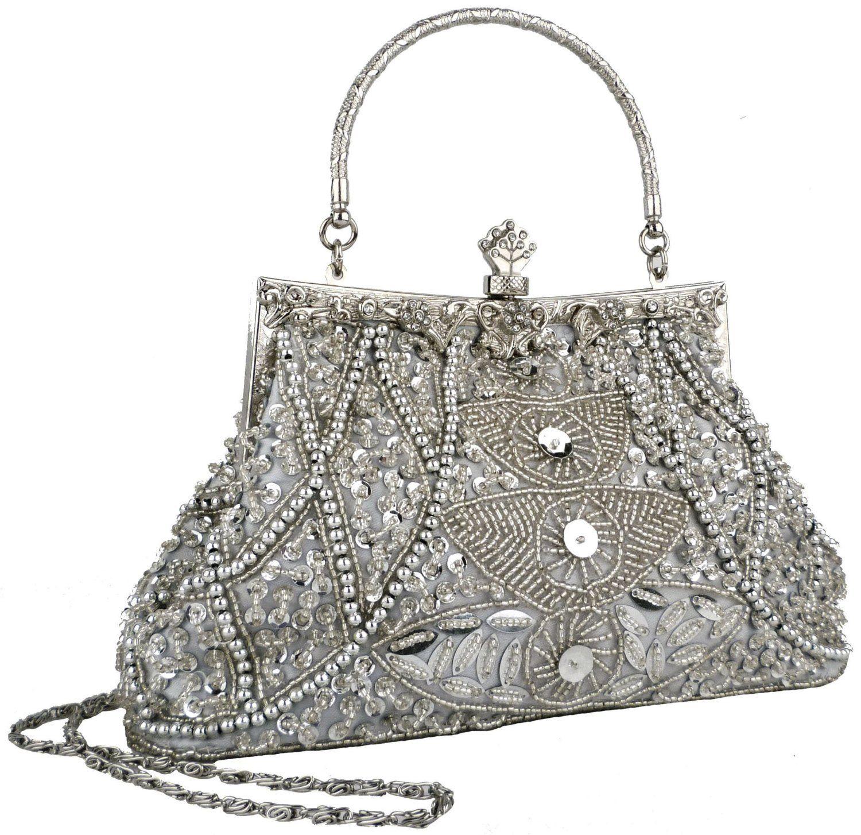 Amazon.com: Exquisite Seed Bead Sequined Leaf Evening Handbag, Clasp Purse Clutch w/Hidden Handle.  Love how DESI this looks!