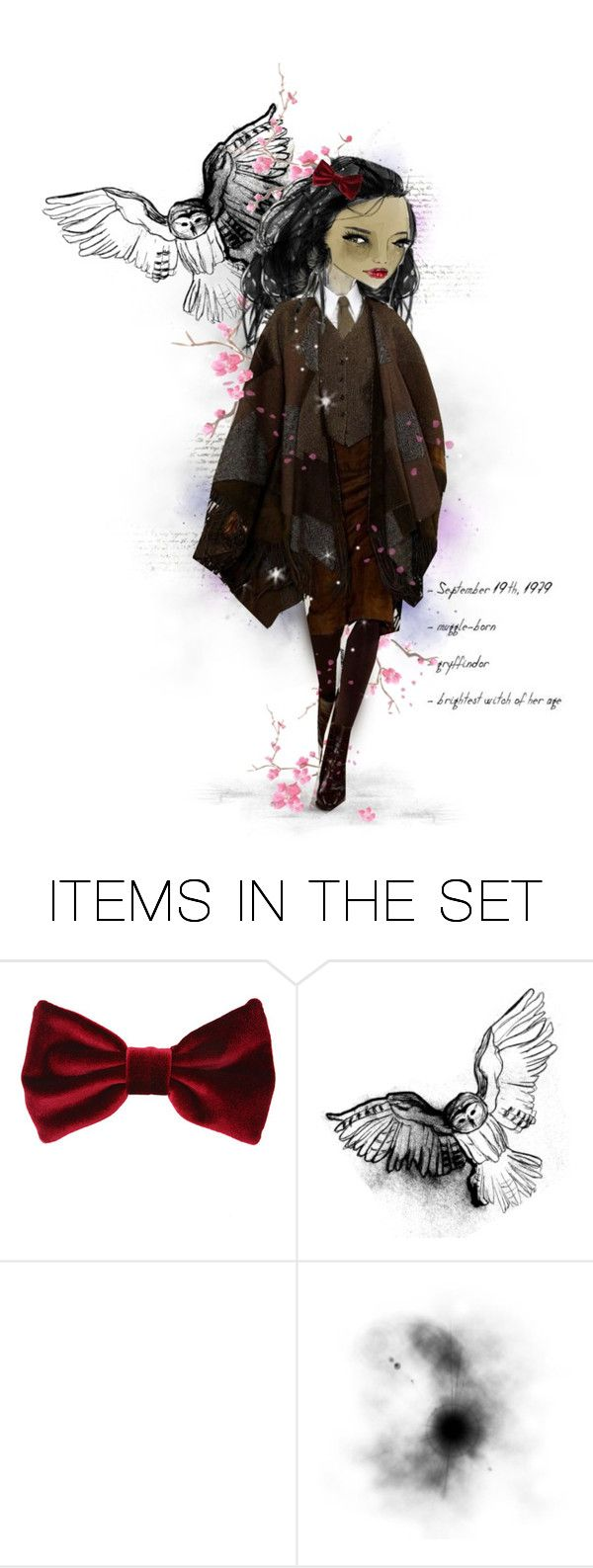 """Hermione"" by elsabear ❤ liked on Polyvore featuring art, harrypotter, hogwarts, paperdoll and HermiooneGranger"