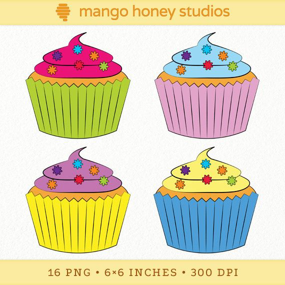 Flower Cupcake Clip Art Bright Birthday Graphics - 16 Digital Illustrations