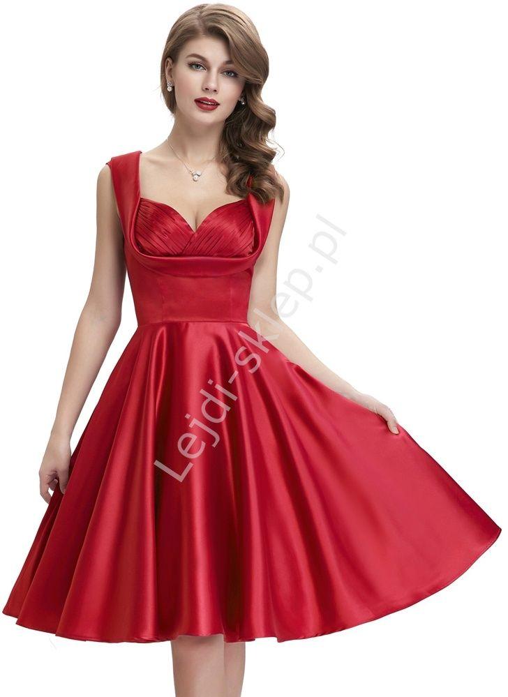 Czerwona Sukienka W Stylu Retro Zaplisowania Na Biuscie Rozkloszowane Vintage Dresses 50s Princess Dress Red Formal Dress